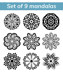Logo templates for spa and yoga center. Mandala set. Indian antistress medallion. Collection of relax symbols. Abstract henna flower icon