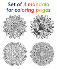Coloring Book Pages Set Collection Mandala Indian Antistress Medallion Abstract Islamic Flower