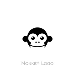 Monkey logo, monkey head icon with black color, logo simple design.