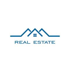 Real estate logo , line concept with blue color.