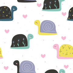 Cute little snail seamless pattern. Fashion kids print. Vector hand drawn illustration.