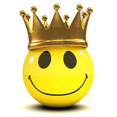 3d Funny cartoon smiley face wears a gold crown of royalty