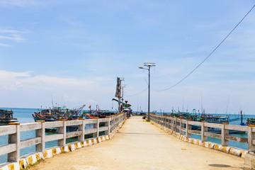 KIEN GIANG, VIETNAM, May 12th, 2018: Wharves at Nha beach on Son island, Kien Giang, Vietnam. Near Phu Quoc island