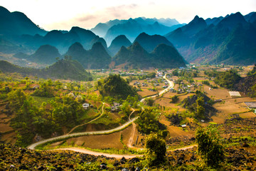 Ha Giang, north extreme loop, North Vietnam, the northern loop, with rice fields, beautuful scenery, villages, and full of motorbikes