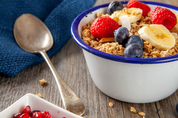 Granola and Berry Breakfast bowl with spoon