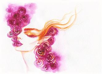 Türaufkleber Aquarell Gesicht beautiful woman. fashion illustration. watercolor painting