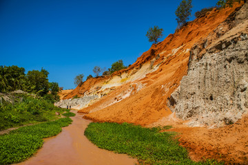Fairy Stream Canyon Red river between rocks and jungle Mui Ne Vietnam