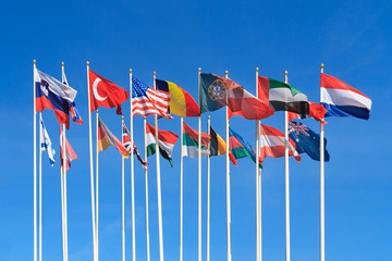 Flags of different countries of the world flutters in the wind a background of clear blue sky