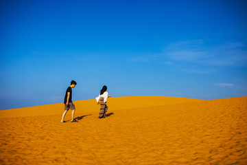 PHAN THIET, BINH THUAN, VIETNAM, May 7th, 2018: Red Sand Dunes and Sky near Mui Ne, Vietnam.