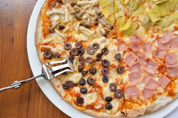 Quattro stagioni pizza (Four season pizza)