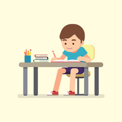 Happy cute school boy writing for homework, Study concept, Vector illustration.