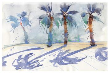 Embankment, palm trees, watercolor