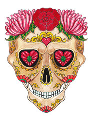 Art Sugar Skull color Tattoo day of the dead. Hand painting on paper.