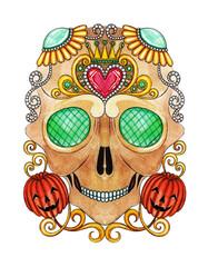 Art Sugar Skull mix Pumpkin color Tattoo. Hand painting on paper.