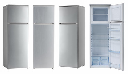 modern household refrigerator color light metallic, four angles, isolated.