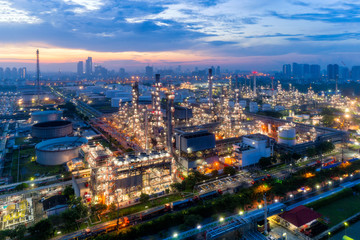 Aerial view of Oil refinery industry at sunrise, Oil refinery plant at Bangkok Thailand