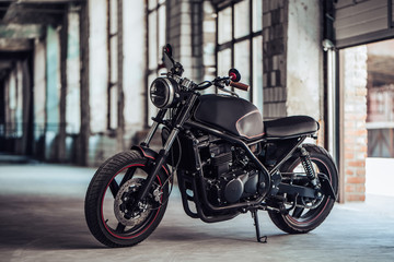 Modern black motorcycle