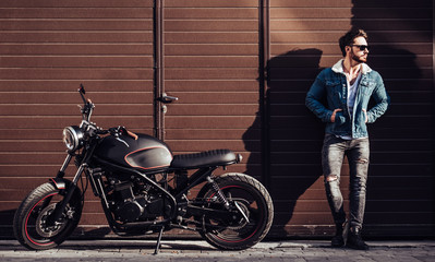 Biker with modern motorcycle