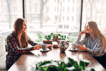 Two girlfriends met in a cafe to drink coffee