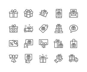 Line Gifts Icons
