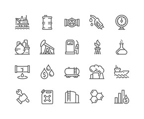 Line Oil Icons