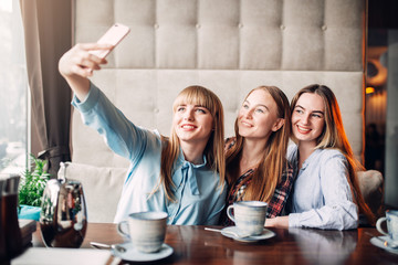 Three girlfriends makes selfie on camera in cafe