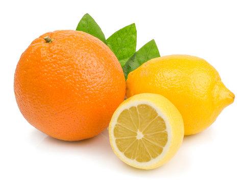 citrus (lemon, grapefruit) - isolated on white background