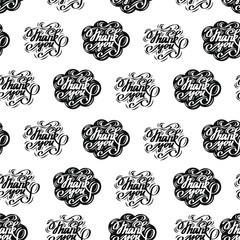 """Hand-drawn """"Thank you"""" seamless pattern. Modern lettering. Isolated on white background.Vector illustration."""