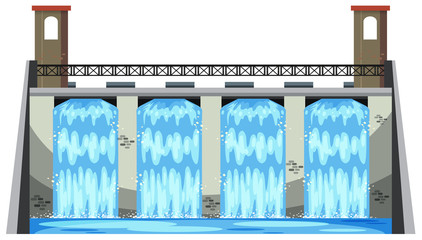 A Big Dam on White Background