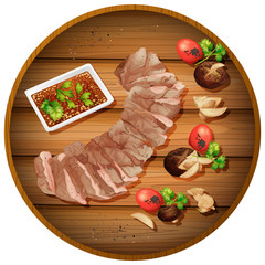Sliced steak dinner on board