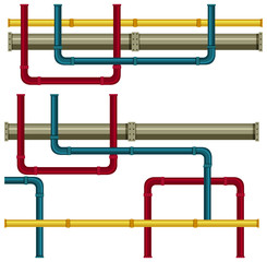 Wall Mural - Underground Pipe on White Background