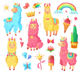 Funny mexican smiling alpaca with fluffy wool and cute rainbow llama unicorn. Magic pets cartoon illustration set