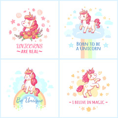 Fairy unicorn poster. Sweet rainbow magic unicorns from happy dreams printable posters vector set