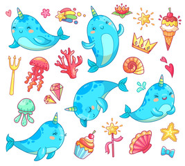 Marine kawaii baby unicorn narwhal. Swimming blue funny anime whale vector cartoon clipart