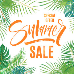 Summer sale lettering beautiful background with exotic palm leaves and plants. Brush painted letters, template for banner, flyer or gift card. Modern calligraphy, vector illustration