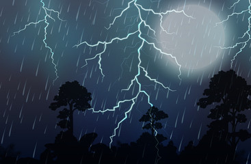A Thunderstorm and Rain Night