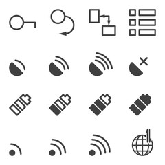 Set of icons for mobile application. A set of 16 images from the lock to connect to the Internet. Vector on a transparent background