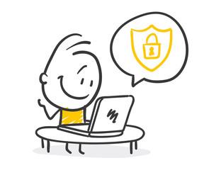 Strichfiguren / Strichmännchen: Cyber security. (Nr. 225)
