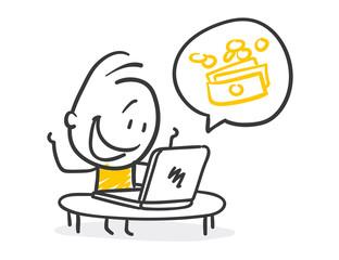 Strichfiguren / Strichmännchen: Finanzen, Online, Geld, verdienen. (Nr. 224)