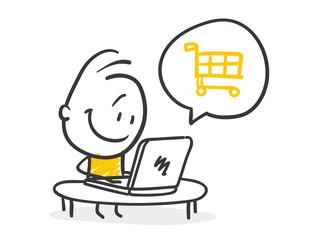 Strichfiguren / Strichmännchen: E-commerce, shoppen, e-shop. (Nr. 223)