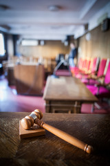 Hammer in a courtroom