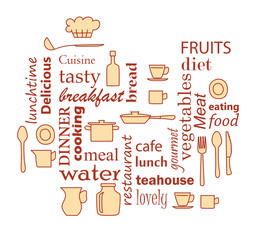 word collage for kitchen and cooking with kitchenware items - dark red and yellow vector