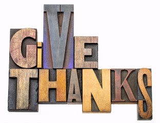 give thanks - word abstract in wood type