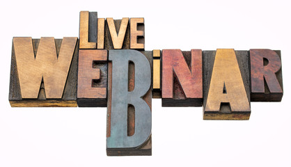 live webinar - word abstract in wood type
