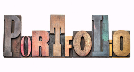 portfolio - word abstract in wood type