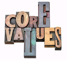 core values - word abstract in wood type