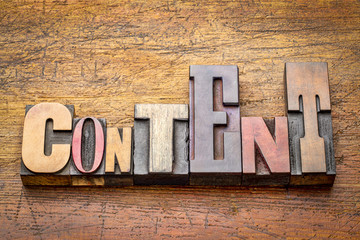 content word abstract in wood type