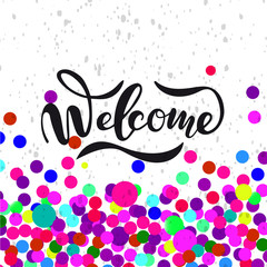 Vector illustration of Welcome  with the inscription for packing