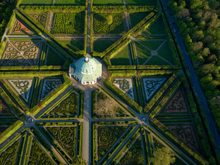 Aerial, vertical view on exceptional geometric and symmetrical baroque garden.