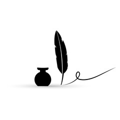 Inkwell and feather pen vector illustration.